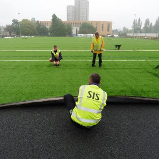 Brushing artificial pitch, synthetic turf installation, grass, hybrid