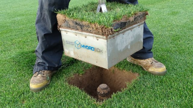 SIS HYDROBOX WATERING SYSTEM, pop up irrigation, pitch, turf, maintenance, hybrid, sprinkler