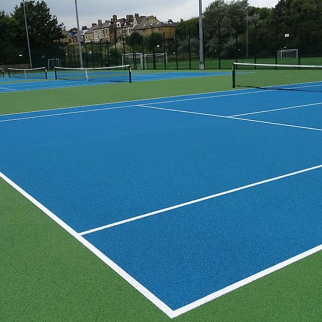 University of Bradford, tennis court, synthetic turf, artificial grass, blue court, coloured grass