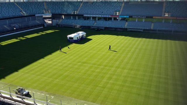 SISGrass hybrid turf system, Gamla Ullevi football stadium in Gothenburg, laying turf in snow