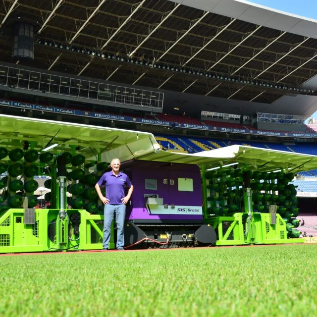 SISGrass electric machine at FC Barcelona George Mullan